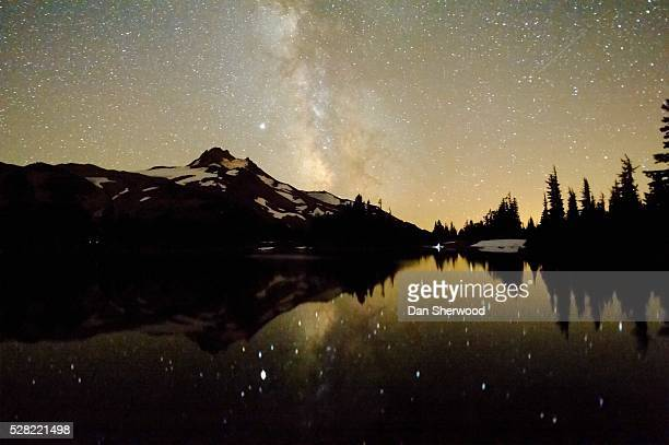 Milky Way Over Mt. Jefferson Reflected In Russell Lake