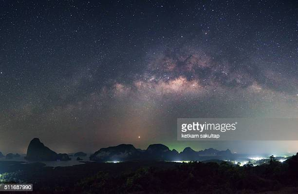 Milky way over Phangnga bay, Thailand.