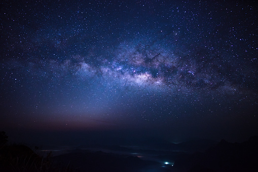 Milky Way over Phu Chi Fa Mountain in Chiang Rai province, Thailand - gettyimageskorea