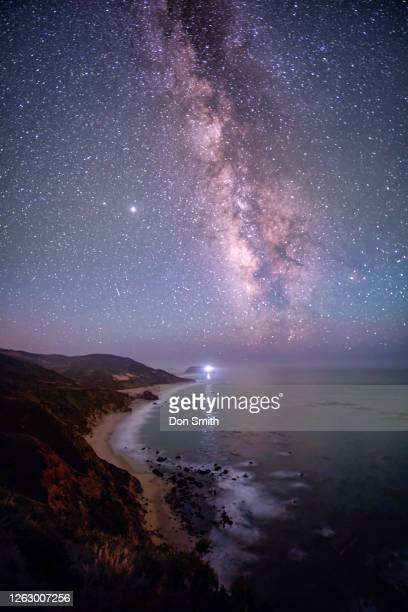milky way over point sur lightstation - don smith stock pictures, royalty-free photos & images