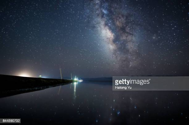 Milky way over salt lake
