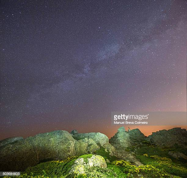 milky way over siete picos - siete stock pictures, royalty-free photos & images