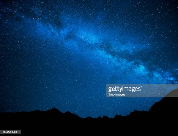 milky way over silhouette of mountains, australia - image stock pictures, royalty-free photos & images