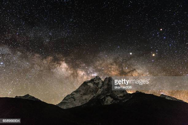 milky way over the Ama Dablam mountain at Dingboche on the way to everest basecamp