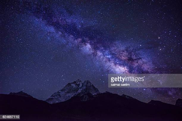 Milky way over the Ama Dablam mountain peak, Everest region, Nepal