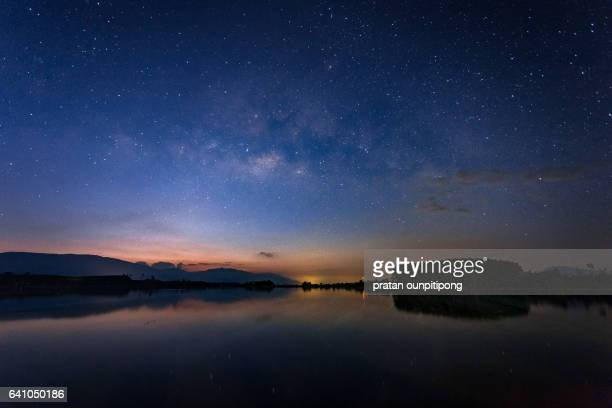 milky way over the lagoon - chanthaburi sea stock pictures, royalty-free photos & images