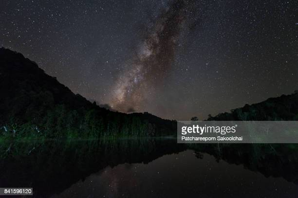 Milky way over the lake, Thailand