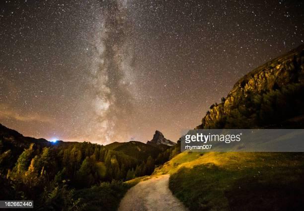 Milchstraße über das matterhorn