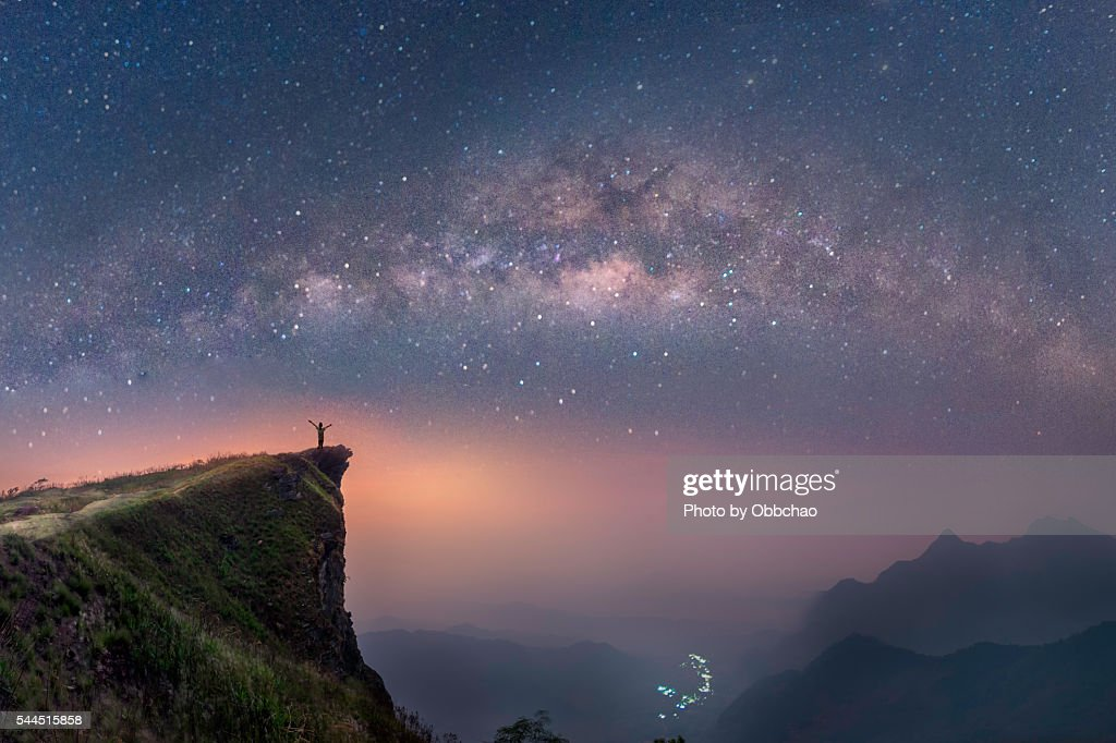 milky way over the mountains of Chiang Rai, Thailand, Phuchifha : Stock Photo