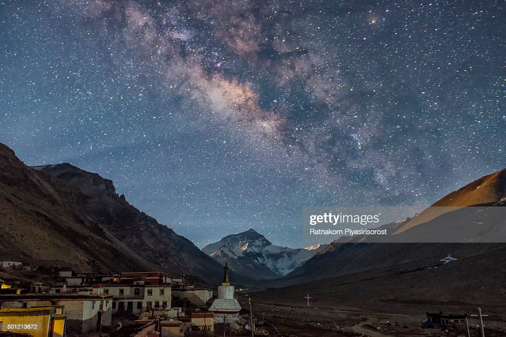 Milky way over the north face of Mt. Everest and Rongbuk monastery , Tibet : Stock Photo