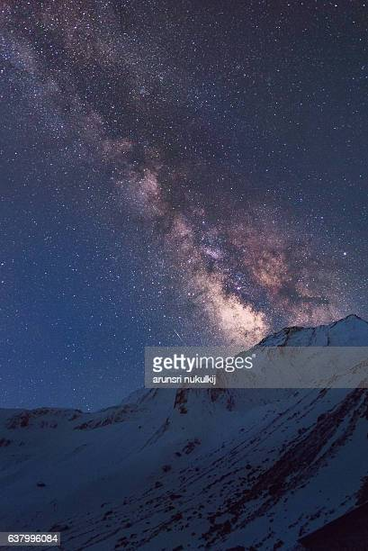 Milky Way over the snow mountain, annapurna base camp, Nepal