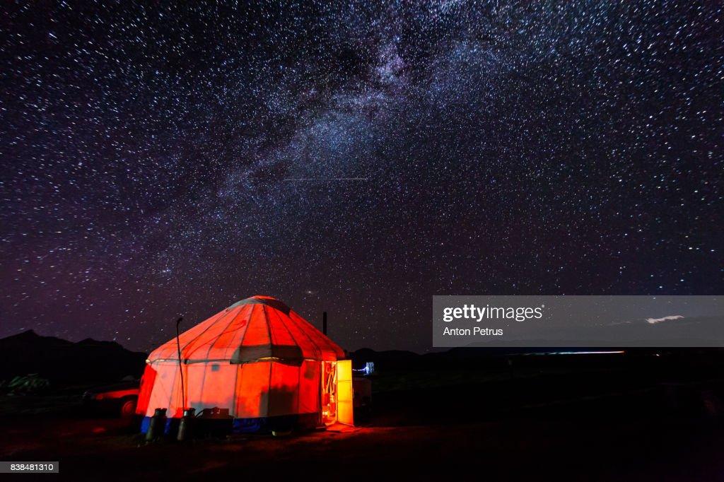 Milky Way over the yurt. Kyrgyzstan, Son-Kul lake : Stock Photo