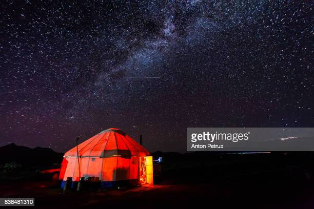 milky way over the yurt. kyrgyzstan, son-kul lake - yurt stock pictures, royalty-free photos & images