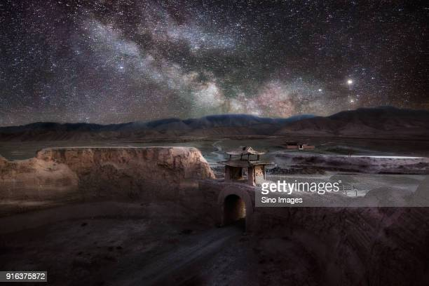 milky way over yongtai ancient town, gansu, china - gansu province stock pictures, royalty-free photos & images