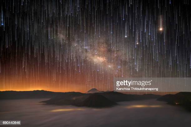 Milky way raining on top of Bromo mountain in Indonesia