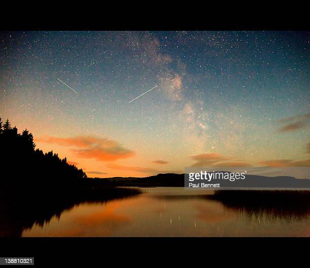 milky way reflection in lake - dumfries stock pictures, royalty-free photos & images