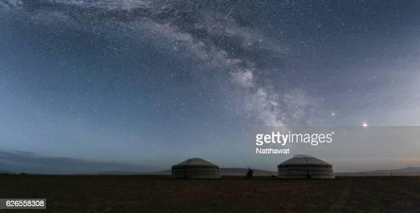 Milky Way rises over a Mongolian ger in South Gobi Desert, Mongolia.