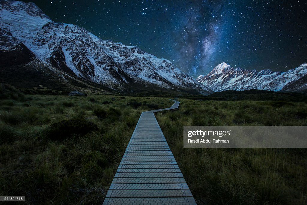 Milky Way Rising Above Mount Cook National Park : Stock Photo
