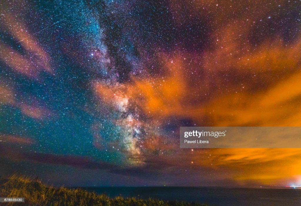 Milky Way rising over Dorset's Jurassic Coast. : Stock Photo