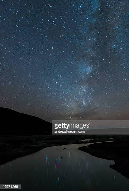 Milky Way with star reflections in a lake