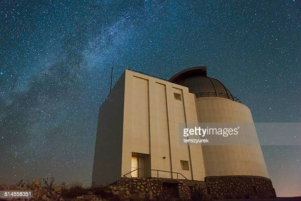 milky way with telescope - scientific exploration stock pictures, royalty-free photos & images