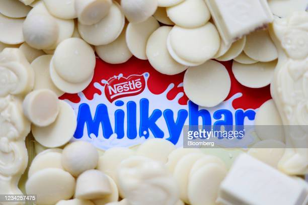 Milkybar chocolate products, manufactured by Nestle SA, arranged in London, U.K., on Monday, July 26, 2021. Nestle report their half-year results on...