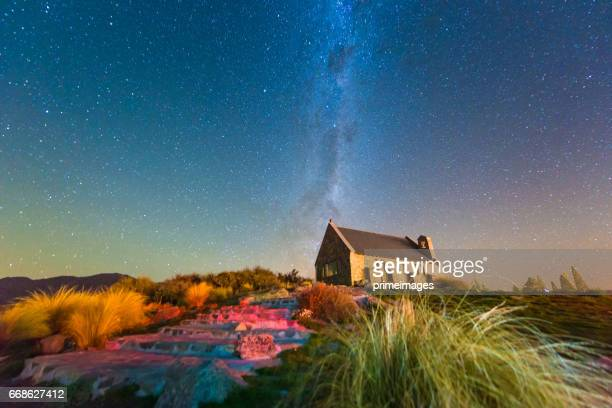 milkyway above Church of Good Shepherd, Lake Tekapo, New Zealand