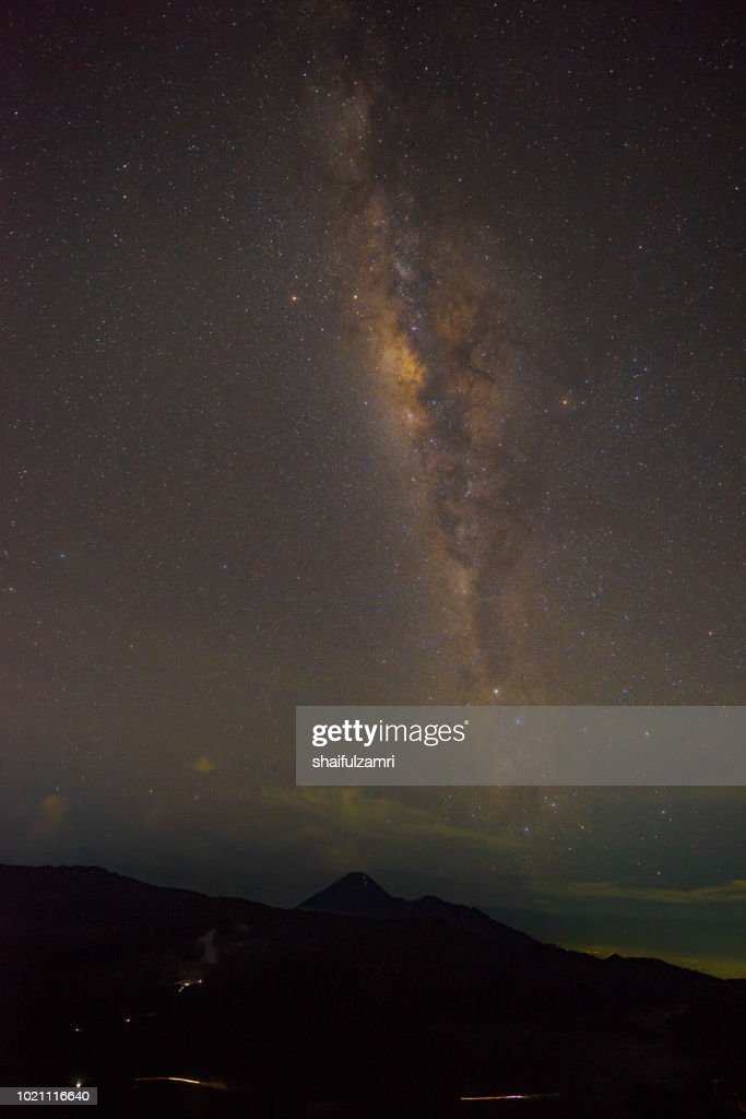 Milkyway above Mount Bromo . Mount Bromo is part of the Bromo-Tennger-Semeru National Park located in East Java of Indonesia. : Stock Photo