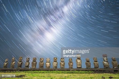Milkyway and startrail at Ahu Tongariki Easter Island at night