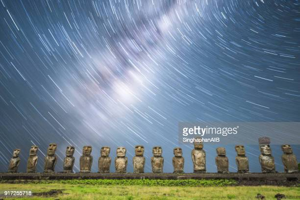 Milkyway and startrail at Ahu Tongariki Easter Island at night