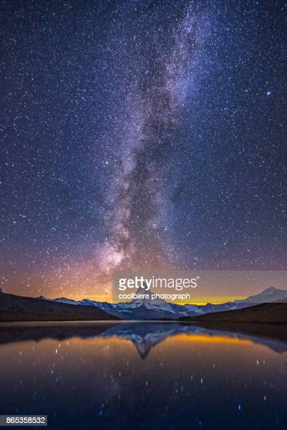 Milkyway at Stellisee lake with Matterhorn background