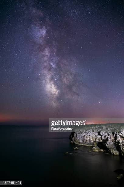 milkyway landscape - royal blue stock pictures, royalty-free photos & images