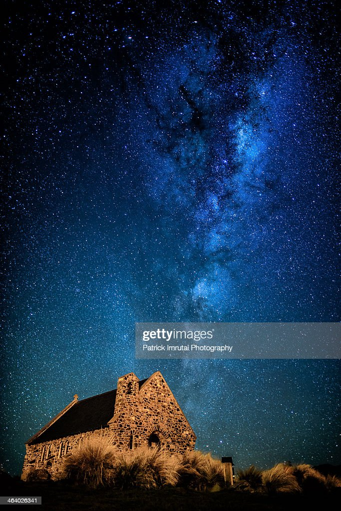 Milkyway over Church of the Good Shepard : Stock Photo