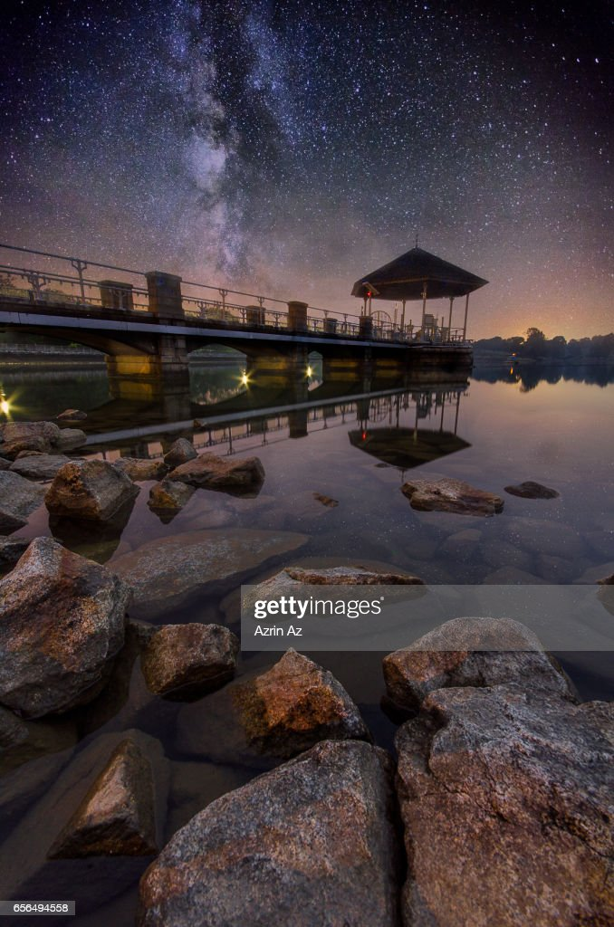 MilkyWay over Lower Pierce Reservoir : Stock Photo