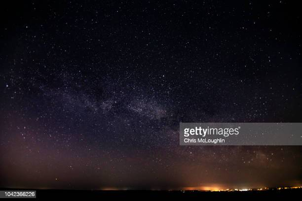 milkyway over the yorkshire moors - astronomy stock pictures, royalty-free photos & images