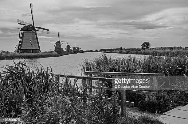 mill network at kinderdijk-elshout, netherlands - キンデルダイク ストックフォトと画像