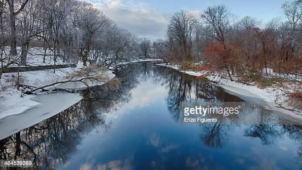 Mill River. New England winter scene