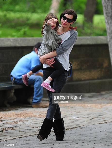 Milla Jovovich and Ever Gabo Anderson are seen in central park at Streets of Manhattan on May 7 2012 in New York City