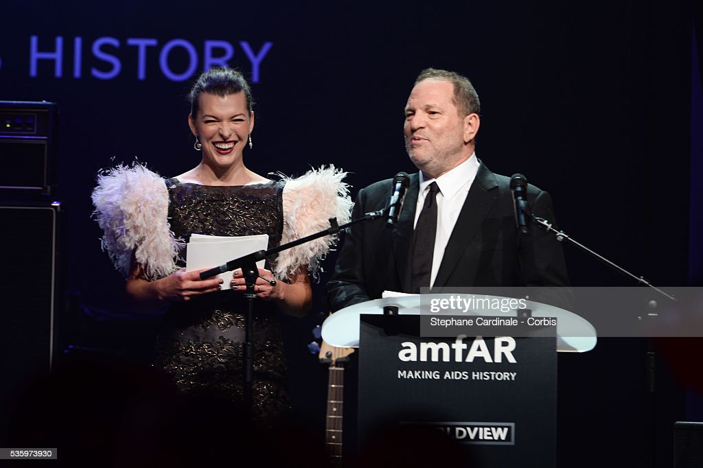 Milla Jovovich and Harvey Weinstein at the amfAR's 21st Cinema Against AIDS Gala at Hotel du Cap-Eden-Roc during the 67th Cannes Film Festival