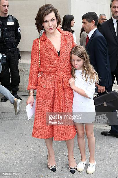 Milla Jovovich and her daughter Ever Gabo Anderson arrive at the Chanel Haute Couture Fall/Winter 20162017 show as part of Paris Fashion Week on July...