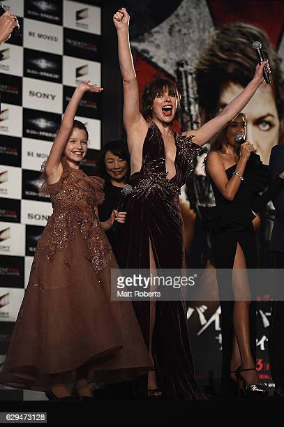 Milla Jovovich and Lee Raviv attend the world premiere of 'Resident Evil The Final Chapter' at the Roppongi Hills on December 13 2016 in Tokyo Japan