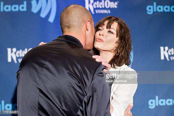 Milla Jovovich and Nigel Barker attend the 24th annual GLAAD Media awards at The New York Marriott Marquis on March 16 2013 in New York City