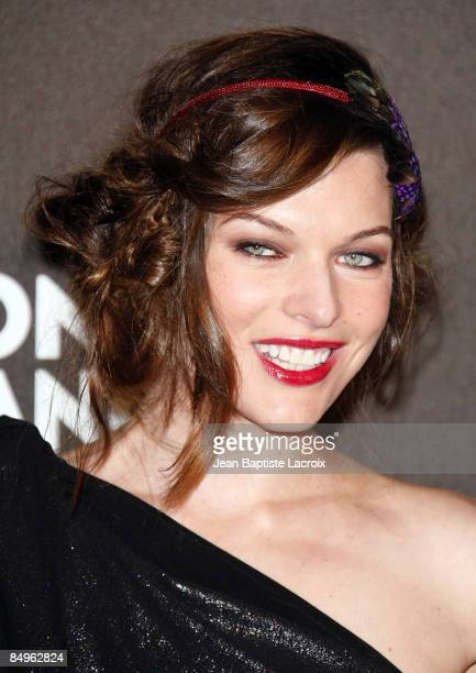 """Milla Jovovich arrives at Montblanc """"Signature for Good"""" Charity Gala at Paramount Studios on February 20, 2009 in Los Angeles, California."""