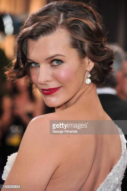 Milla Jovovich arrives at the 84th Annual Academy Awards held at the Hollywood Highland Center on February 26 2012 in Hollywood California