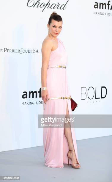 Milla Jovovich arrives at the amfAR Gala Cannes 2018 at Hotel du CapEdenRoc on May 17 2018 in Cap d'Antibes France