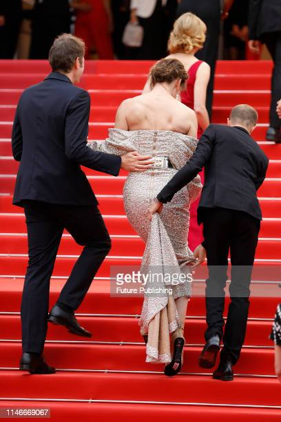 Milla Jovovich at the premier red carpet for Sibyl during the 72nd Cannes Film Festival at the Palais des Festivals on May 24 2019 in Cannes France