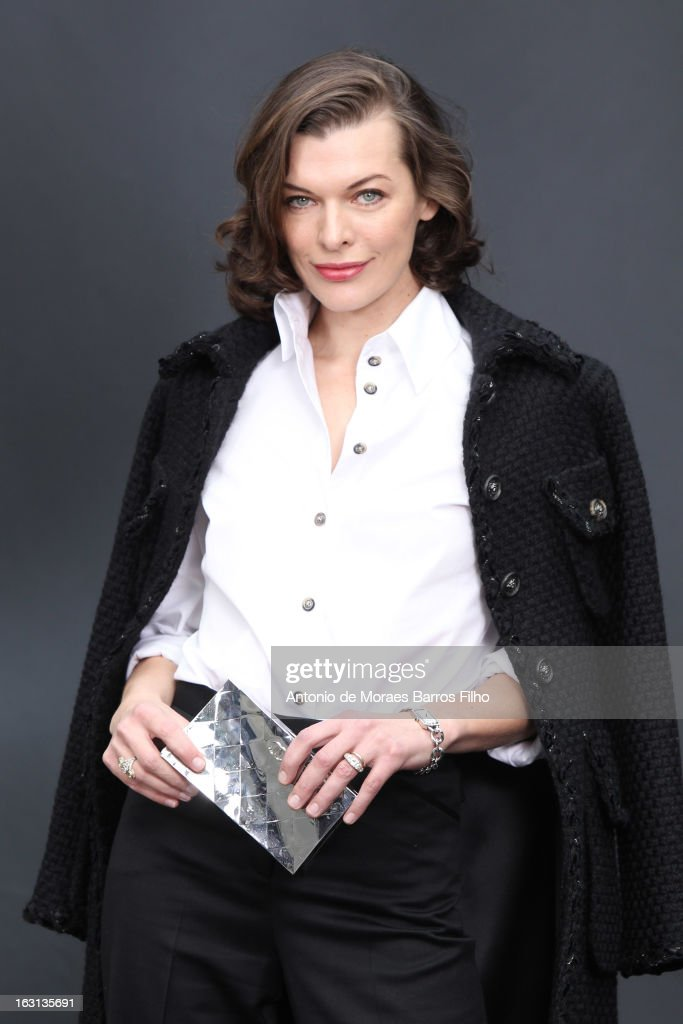 Milla Jovovich attends Chanel Fall/Winter 2013 Ready-to-Wear show as part of Paris Fashion Week at Grand Palais on March 5, 2013 in Paris, France.