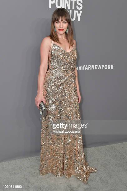 Milla Jovovich attends the amfAR New York Gala 2019 at Cipriani Wall Street on February 6 2019 in New York City