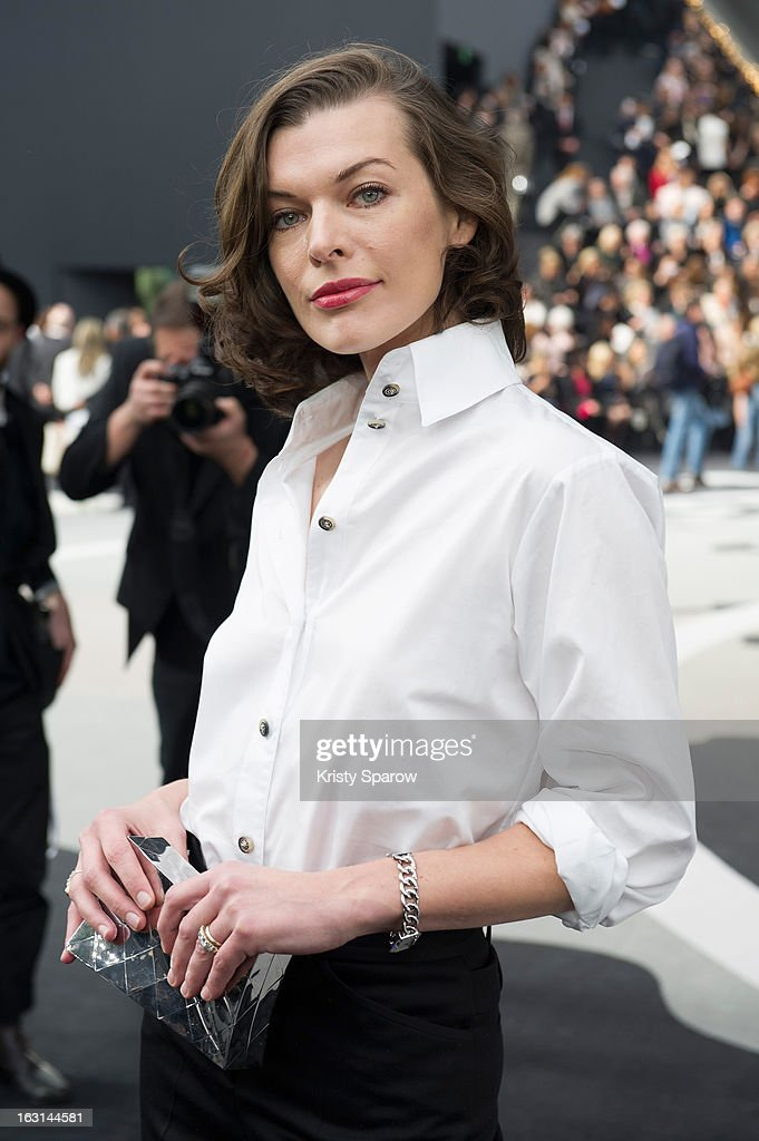 Milla Jovovich attends the Chanel Fall/Winter 2013/14 Ready-to-Wear show as part of Paris Fashion Week at Grand Palais on March 5, 2013 in Paris, France.