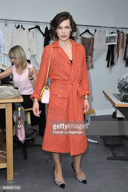 Milla Jovovich attends the Chanel Haute Couture Fall/Winter 20162017 show as part of Paris Fashion Week on July 5 2016 in Paris France
